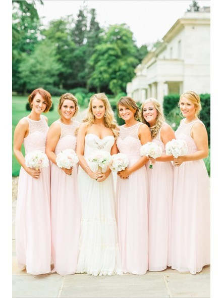Charmming Pink Chiffon with Top Crystal   Bridesmaid     Dresses   Formal Prom   Dress   2016 Long Special Occasion   Dresses