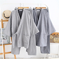 Japanese kimono ternos para homens venda Quente algodão conjuntos de pijama manga Três Quart Tradicional Yukata Homens Salão Roupão Sleepwear