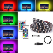 DC5V USB LED Strip 5050 RGB Flexible Light 1M 2M 3M 4M 5M TV Background Lighting RGB Adhesive Tape IP65 Waterproof(China)