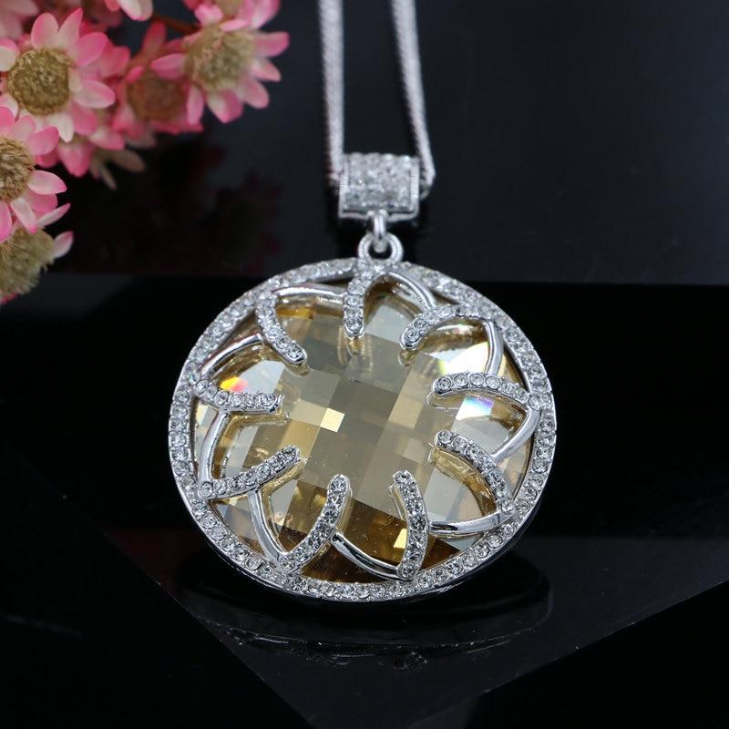 596384611e44 Classique Stellux Strass Fleur Ronde Cristal Autrichien Grand Pendentif  Long Collier Rhodium Plaqué Bijoux