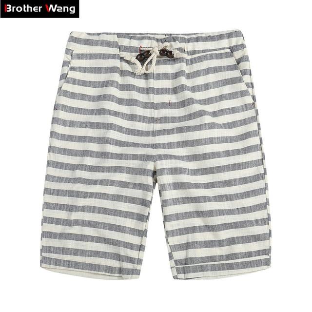 36c3b83097 Brother Wang Brand 2019 Spring Summer New Men's Shorts Fashion Casual  Bermuda Striped Beach Straight Loose Cotton Shorts 310