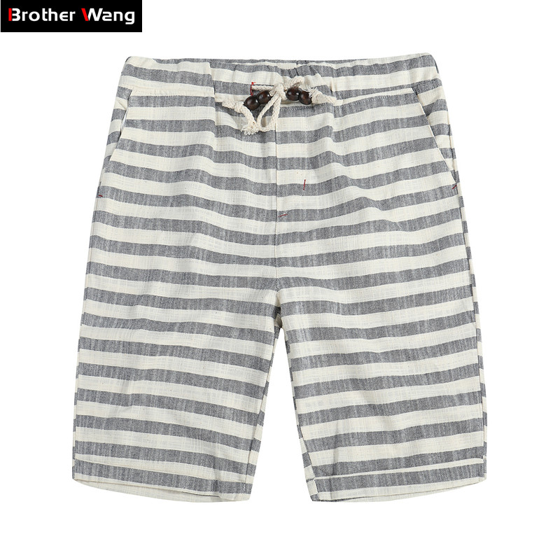Brother Wang Brand 2020 Spring Summer New Men's Shorts Fashion Casual Bermuda Striped Beach Straight Loose Cotton Shorts 310