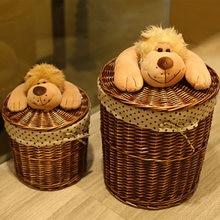 Круглая плетеная корзина органайзер для игрушек одежды маленьких