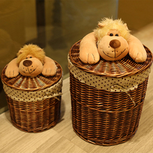 Round wicker basket organizer for Toys Clothes Neatening small-large-wicker-storage-baskets laundry with dog lids