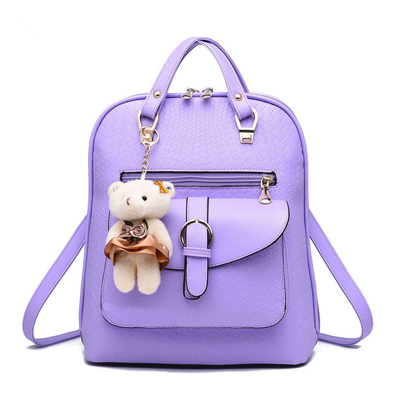 Fashion Elegant PU Women Girls Backpack Bag Purple Traveling Pratical Students SchoolbagFashion Elegant PU Women Girls Backpack Bag Purple Traveling Pratical Students Schoolbag