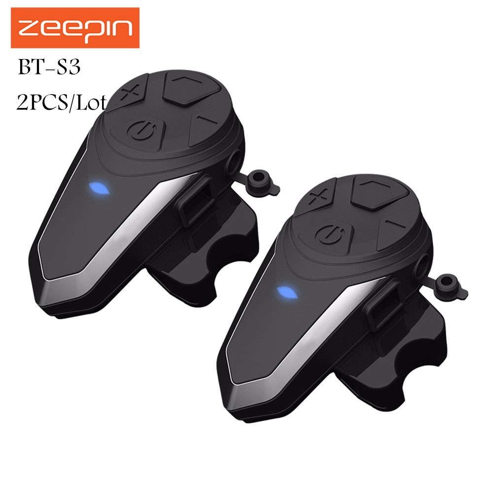 2PCS/Lot Zeepin BT-S3 Motorcycle Intercom 1000m Helmet Headsets Wireless Bluetooth Interphone Handsfree Waterproof FM Radio 1pc bt s3 dc5v 500ma helmet headsets motorcycle intercom wireless bluetooth interphone handsfree waterproof fm radio