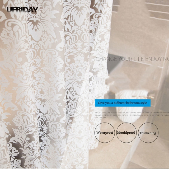 UFRIDAY Damask Floral Shower Curtain PEVA Bathroom Curtains Thick Polyester Butterfly Bath Waterproof Mouldproof Cortina