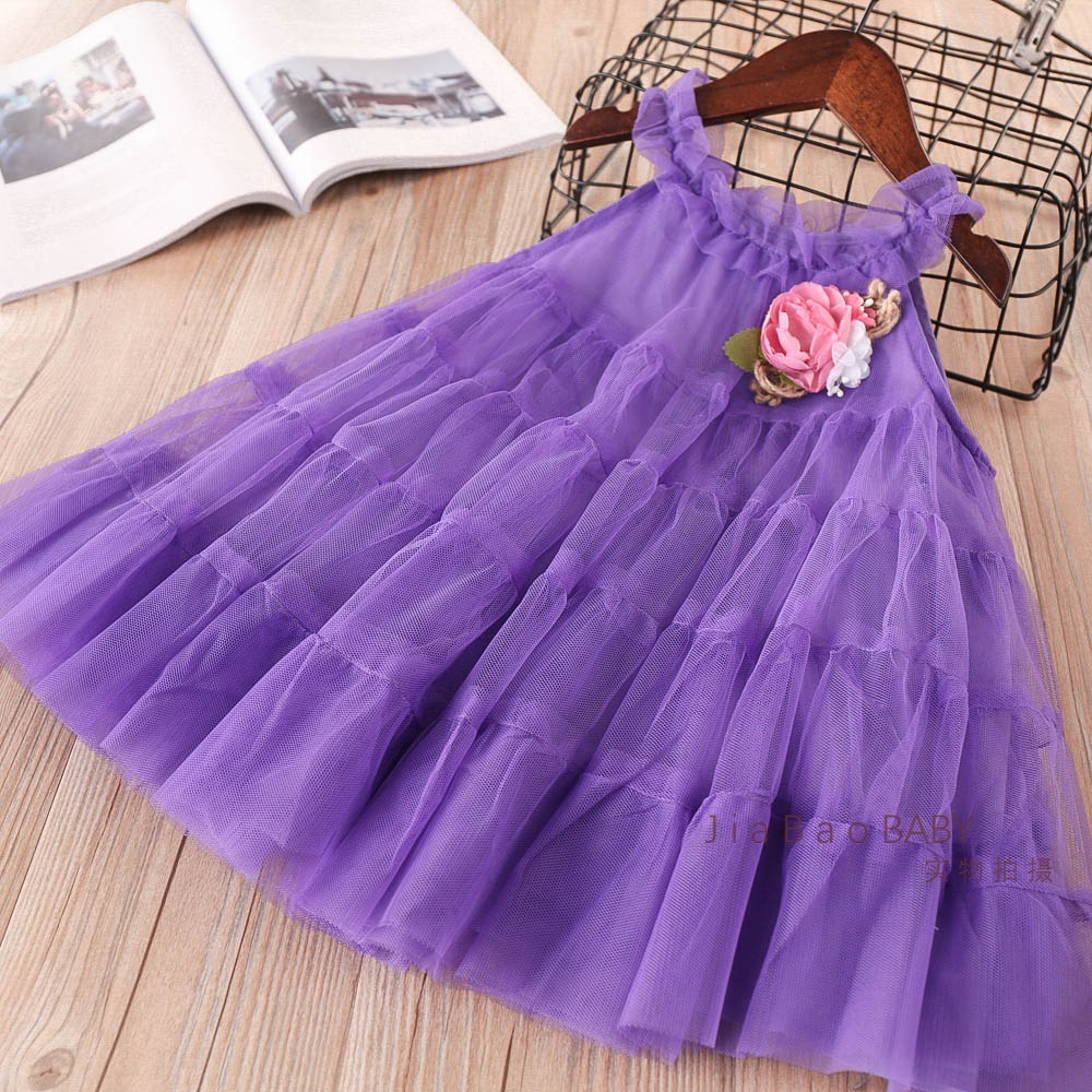Girls Tulle Lace Party Dresses Baby Girls Princess tutu Dress with Floral Brooch Babies  ...