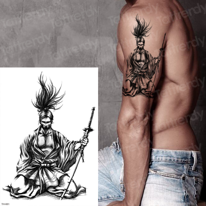 Japanese Samurai Tattoos Black Sketches Tattoo Designs Temporary Tattoos For Men Arm Sleeve Shoulder Temporary Tattoo Sticker