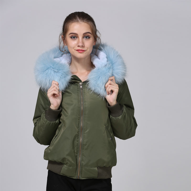 Lightblue fashion bomber parka casual wear fur lined winter fligth jacker mr mrs top qua ...