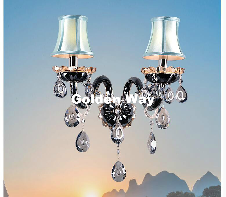 Free Shipping Black Clear Crystal wall Lamp luxury Bedroom Bedside Wall Candle E14 K9 crystal Wall Scones AC 100% Guaranteed 1 piece free shipping anodizing aluminium amplifiers black wall mounted distribution case 80x234x250mm