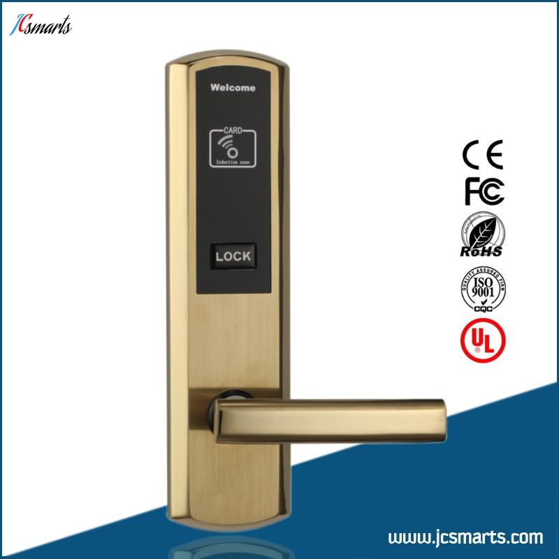 Factory selling hotel digital lock keyless mortise rfid card lock hotel lock system rfid t5577 hotel lock gold silver zinc alloy forging material sn ca 8037