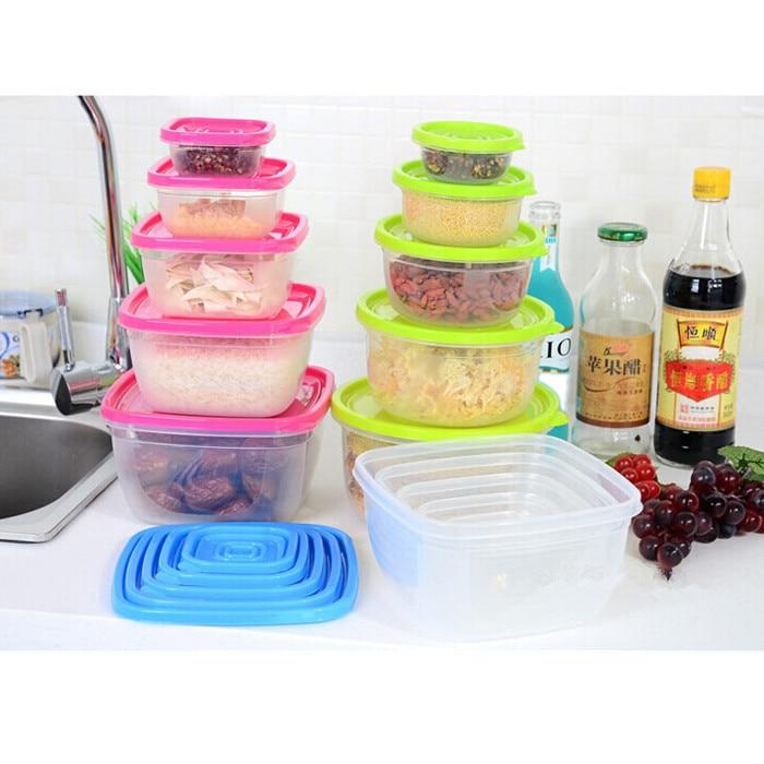 New Fashion Kitchen Transparent Preservation Plastic Boxes Sets Food