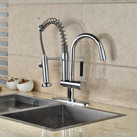 Polished Chrome Kitchen Faucet Spring Sink Cold Hot Mixer Tap W 8 Cover Plate