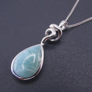 Image 5 - Pendentif Larimar en argent Sterling nouveauté, perles naturelles, 9x13mm, bijou fin pour femme, 925 goutte de larme, pour cadeau, breloque collier