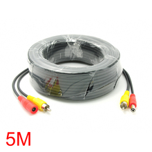 5M/16FT RCA DC Connector Power Audio Video Cable For CCTV Camera Security