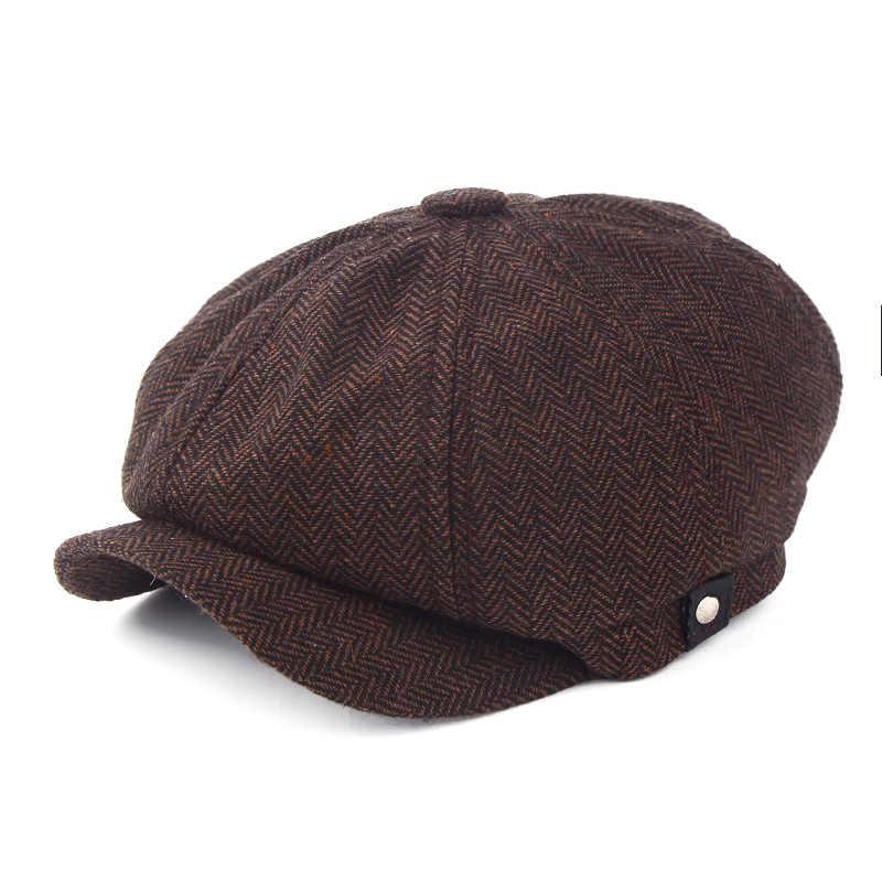 Новинка 2017, модная теплая Зимняя кепка, восьмиугольная кепка, берет, Мужская Уличная зимняя шапка, кепка для газетчика, берет Джейсон стейтем