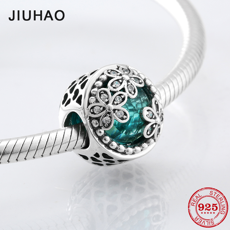 Fashion delicate 925 Sterling Silver three flowers green CZ beads Fit Original Pandora Charm Bracelet Jewelry making