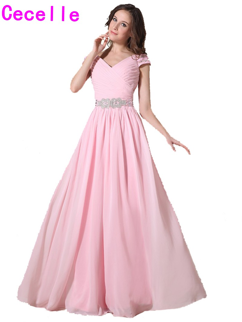 Compare prices on long bridesmaid dress with long sleeves online 2017 real pink long modest bridesmaid dresses with cap sleeves v neck crystals formal beach summer ombrellifo Image collections