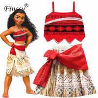 Movie Principessa Moana Costume per I Bambini Moana Abito Da Principessa Cosplay Costume Bambini Costume di Halloween per le Ragazze Del Partito del Vestito