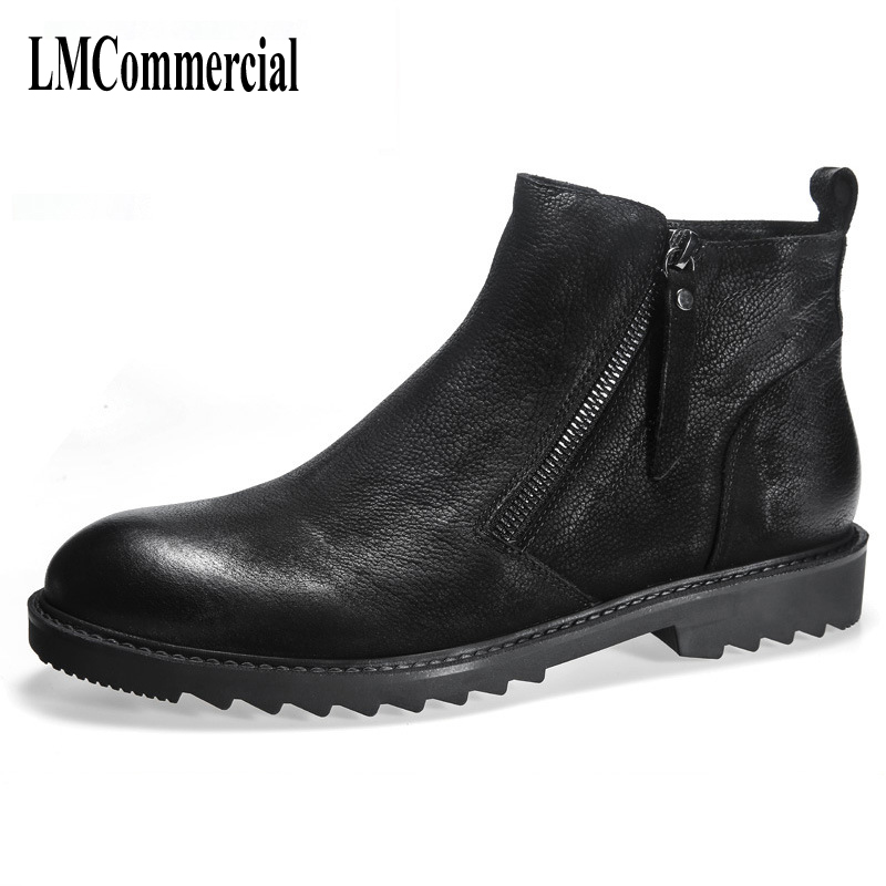 2017 new winter boots leather boots chunky Martin male boots British style high shoes men's leather shoes Korean tide martin new winter with thick british style short canister female fall side zipper boots