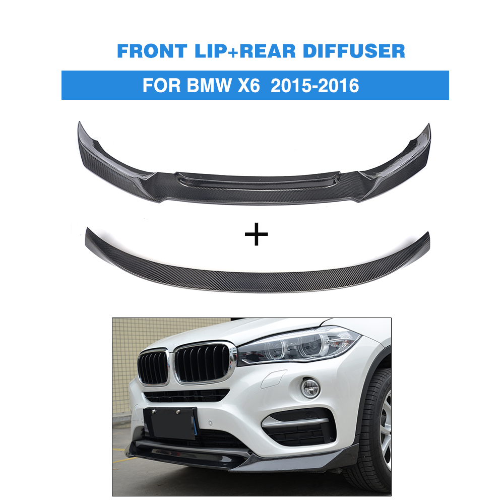 2PCS/Set X6 Carbon fibre Front Lip Chin Rear Trunk Spoiler Wing for BMW X6 2015-2016 Car Accessories 2007 bmw x5 spoiler