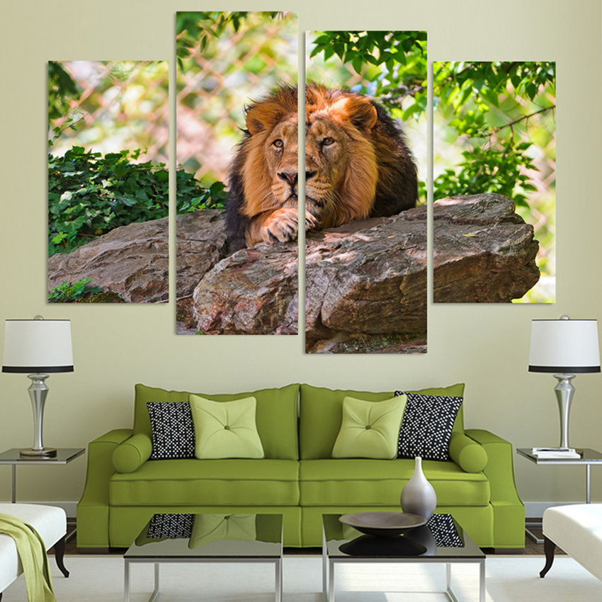 4 Piece Animals Lions Modern Home Wall Decor Canvas Picture Art HD Print Oil Painting Christmas Gifts