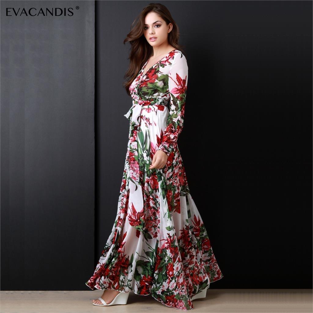 Floral Maxi Dress Long Sleeve V Neck Vintage Elegant White