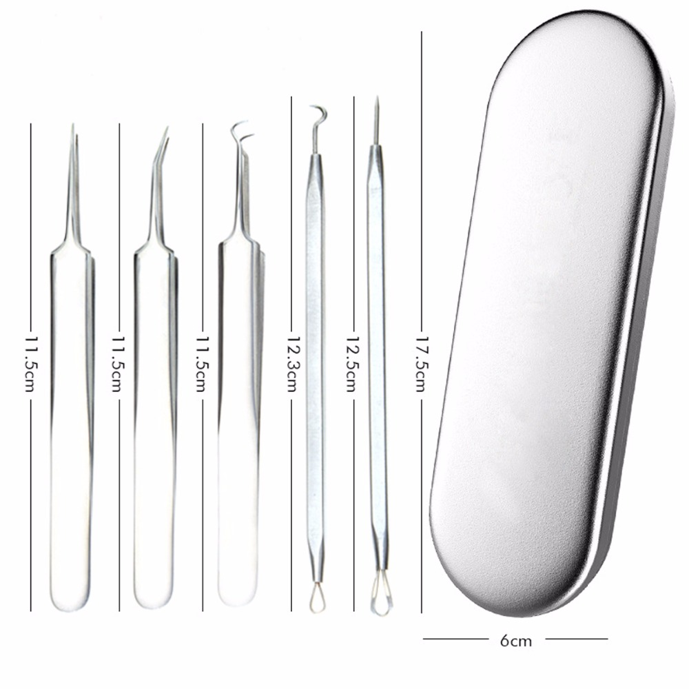 5Pcs/Lot Blackhead Removal Acne Needle Kit Stainless Steel Tweezers Facial Comedone Acne Extractor Face Skin Spot Pimple Remover 5pcs face care stainless acne needle blackhead and pimple remover comedone acne extractor point clean black head remover tool