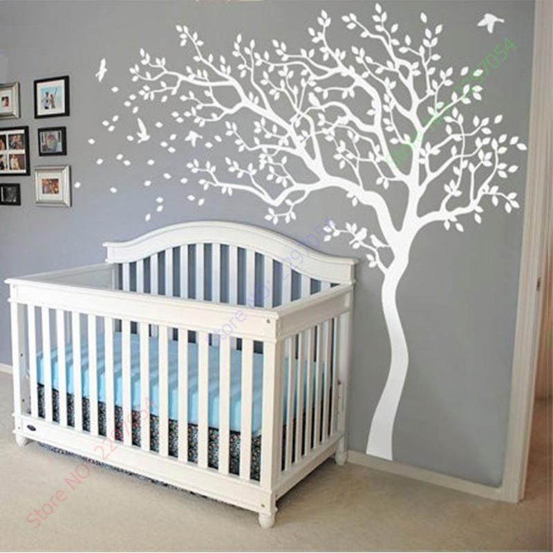 Grootte 213X210CM enorme witte boom muur sticker kwekerij boom en - Huisdecoratie