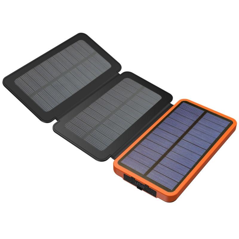 imágenes para Real 3 Pliegues Cargador Solar Solar Power Bank 10000 mAh Soporte de Batería Externa Recargable Solar de Carga Solar para Teléfonos Inteligentes