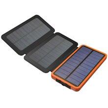 Suporte de Carregamento para Telefones Real 3 Dobras Carregador Solar Power Bank 10000 MAH Externa Recarregável Bateria Inteligentes