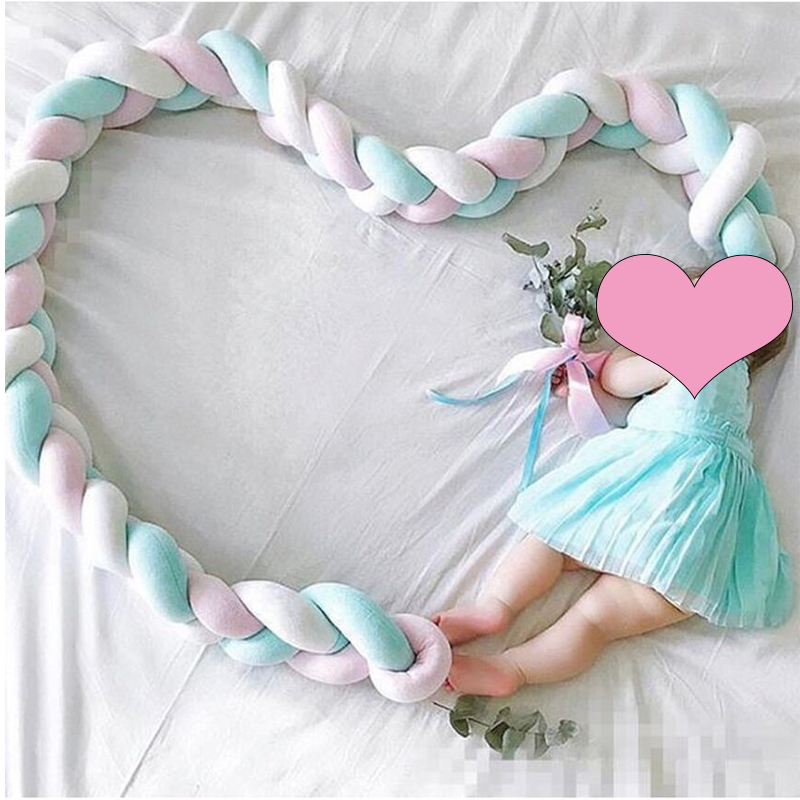 Braids Bed Bumper Knot Pillow Baby Crib Protection Cot Bumper Bedding Cradle Bumper Shower Gift Braided Crib Bumper
