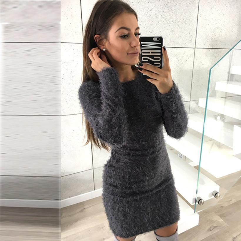 CHAMSGEND Women Winter Long Sleeve Solid Sweater Fleece Warm Basic Short Mini Dress Drop Shipping 4F11*