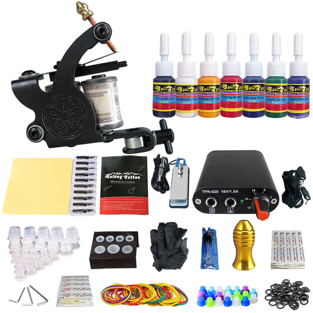 Hybrid Complete Tattoo Coil Machine Kit For Liner Shader Power Supply Foot Pedal Needles Grip Tips Tattoo Body&Art TK105-80Hybrid Complete Tattoo Coil Machine Kit For Liner Shader Power Supply Foot Pedal Needles Grip Tips Tattoo Body&Art TK105-80