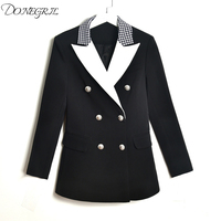 high quality 2019 new fashion black and white stitching silver button pocket Slim commuter woman blazers S 3XL