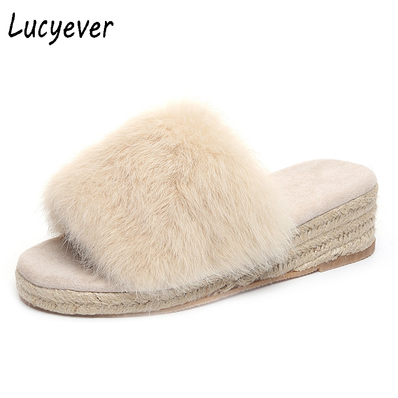 Lucyever Women Fur Fluffy Slippers Sweet Candy Color Plush Slides Leisure Wedges Slip On Summer Flip Flops Comfort Casual Shoes halluci breathable sweet cotton candy color home slippers women shoes princess pink slides flip flops mules bedroom slippers