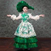 Детское праздничное платье зеленого цвета с полным кружевным покрытием