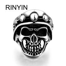 Hot Sale Finger Art Antique Silver Retro Titanium Stainless Steel Ring Punk Biker Jewelry Skull Ring with Head Lamp