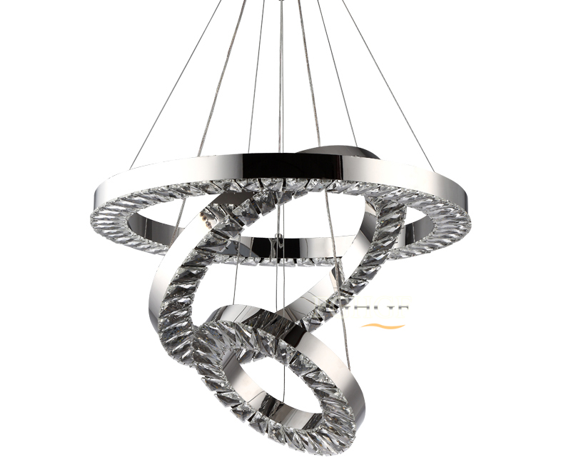 New Design LED Crystal Pendant Light Remote Dimming luminaire suspendu Lighting Lamp Lustres de Cristal Ring Circle Living Room