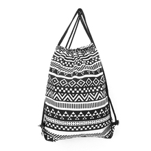 Fashion Unisex Linen Storage School Gym Drawstring Bag Beach Backpack Pouch