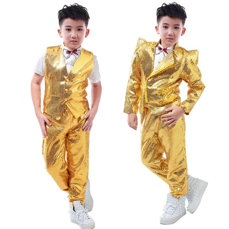 Nouveautés mode décontracté enfants scène porter des vêtements ensemble enfant paillettes d'or slim pour enfants hip-hop chanteur dj costumes