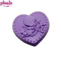 Amore A Forma di cuore Cupido angelo Handmade 3D Muffa Del Sapone Del Silicone della torta Del Fondente stampi Muffa Del Cioccolato
