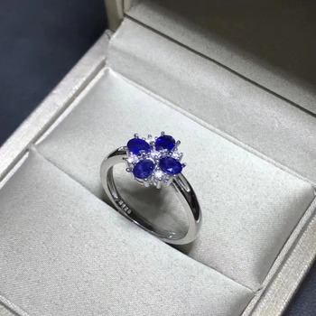 Weding Ring Flower Style Natural real sapphire ring 925 sterling silver Fine handworked jewelry Finger rings