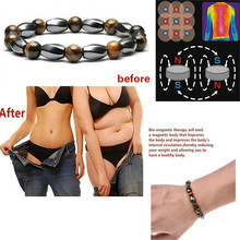 2019 Magnetic Therapy Bracelet Weight Loss Round Black Stone  For Women Men Health Care Hematite Stretch Bracelets New