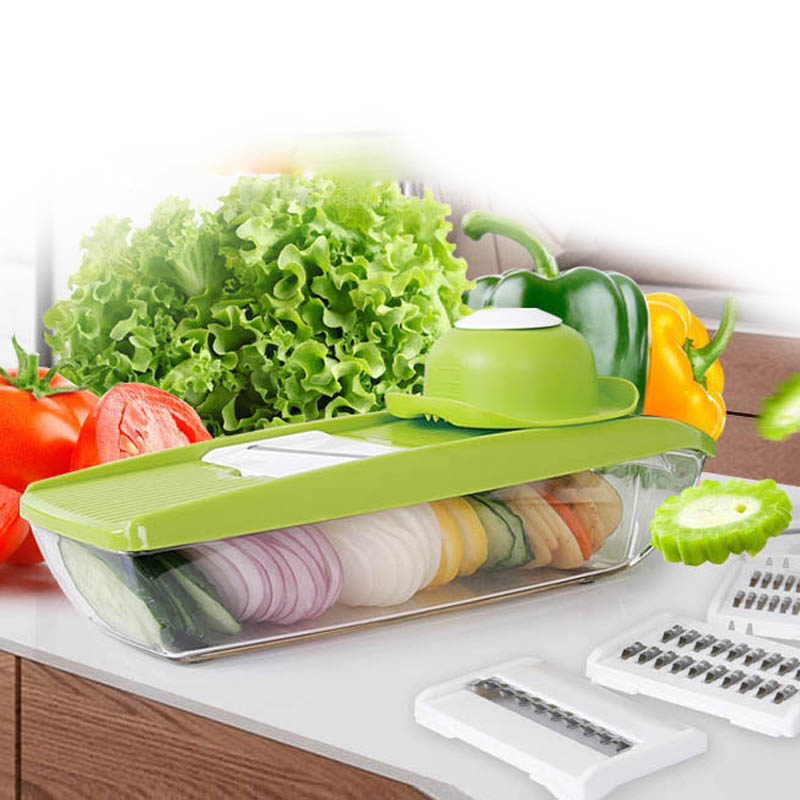 Adjustable Vegetable Slicer 5 Interchangeable Stainless Steel Blades Vegetable Cutter Peeler Slicer Grater BOX Kitchen Tools