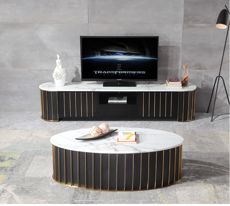 Us 1603 6 5 Off Gold Stainless Steel Tv Stand Modern Living Room Marble Coffee Table Led Monitor Mueble Cabinet Mesa In