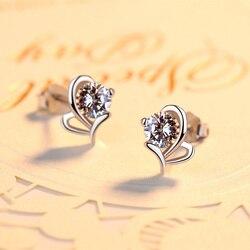 2018 Fashion Woman Genuine AAA Shiny Cubic Zircon Stud Heart Earring Long Female Party Jewelry 925 Sterling Silver Earrings