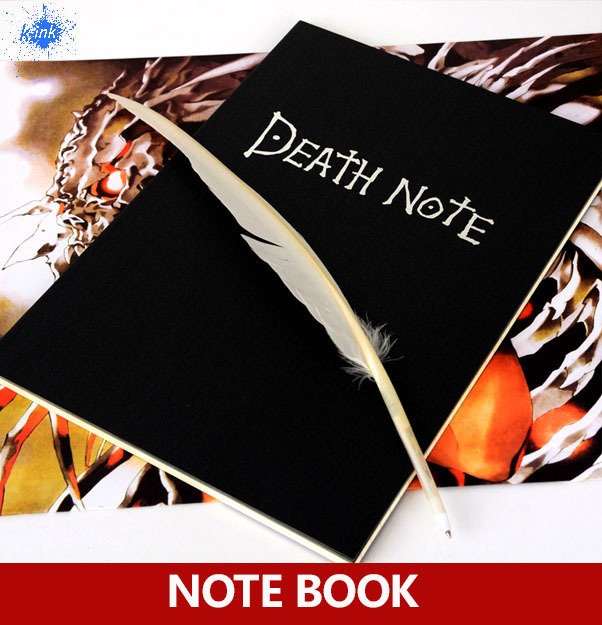 Hot Sale Death Note Notebook with Feather Pen , Japanese cartoon notebook for diary / daily memo sosw fashion anime theme death note cosplay notebook new school large writing journal 20 5cm 14 5cm