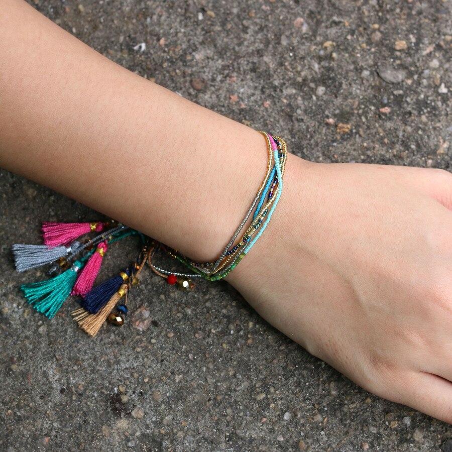 KELITCH 10Pcs Multicolor tassel Seed Beaded Bracelets Handmade Friendship Bracelets Bohemia Strand Bradelet For gifts 8